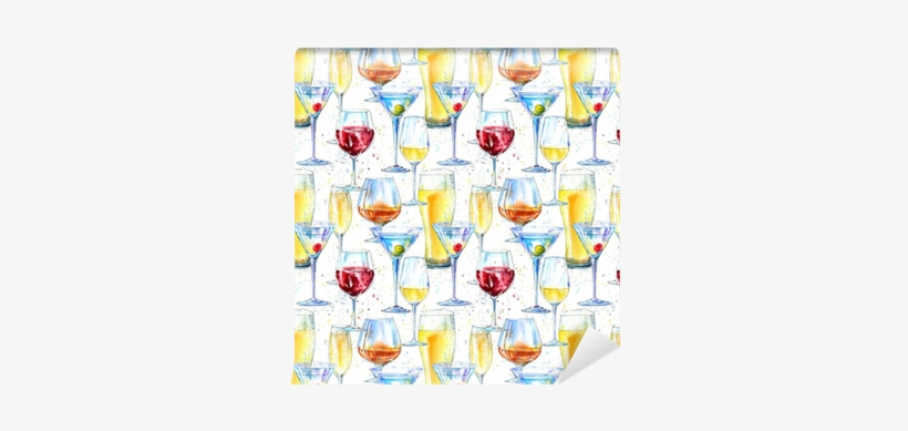 Seamless Pattern Of A Champagne,cognac, Wine,martini, - Alcoholic Drink, transparent png #56751