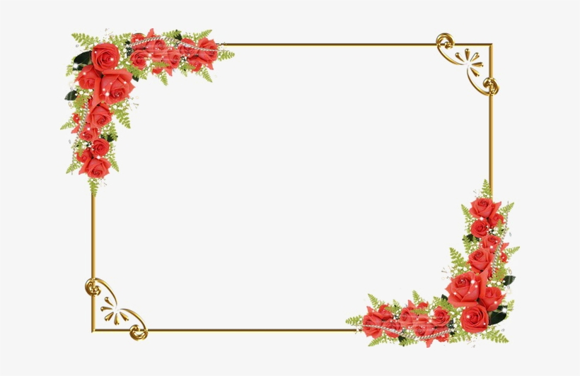 Red Floral Border Png Image Background - Borders Red Flower Frame Png, transparent png #56799