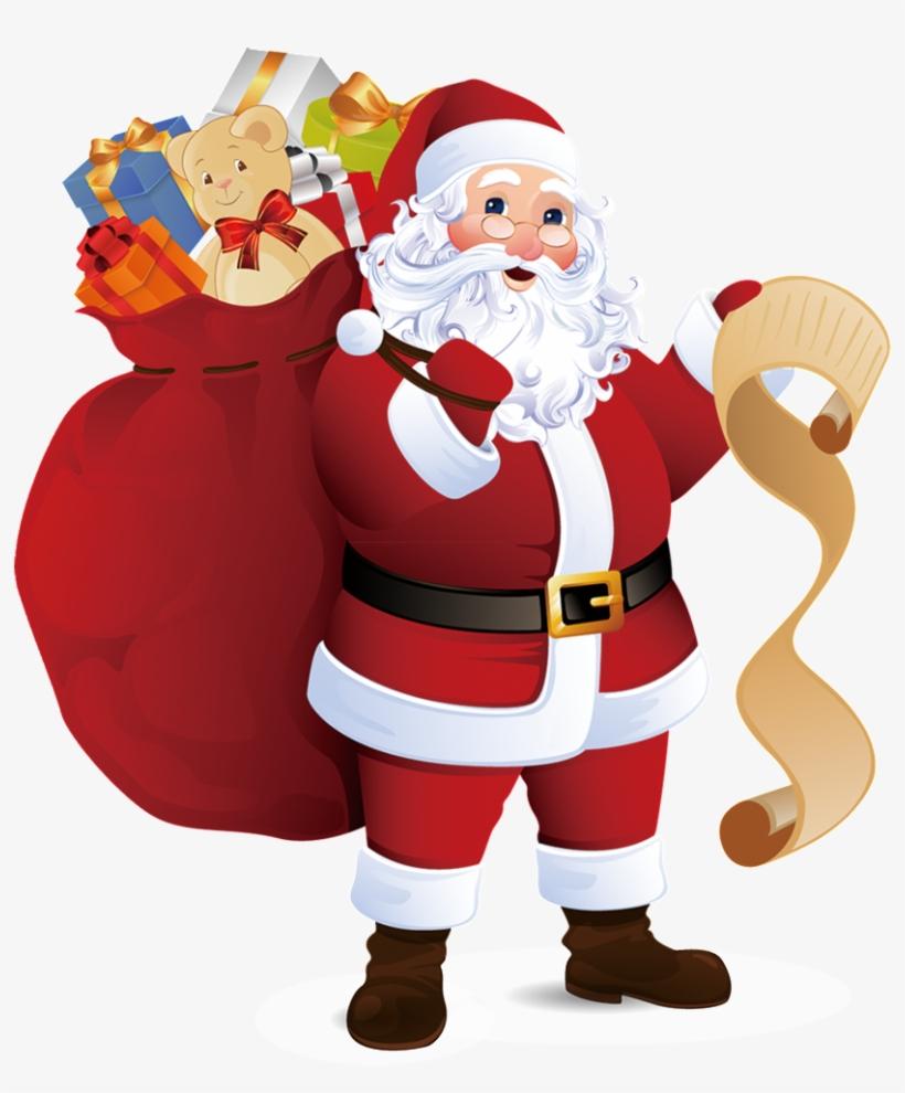 Santa Claus Transparent Decorative Carrying A Gift - Santa Claus With Presents, transparent png #57196