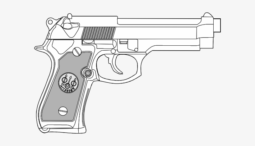Hand Gun Outline - Gun Coloring Pages, transparent png #58205