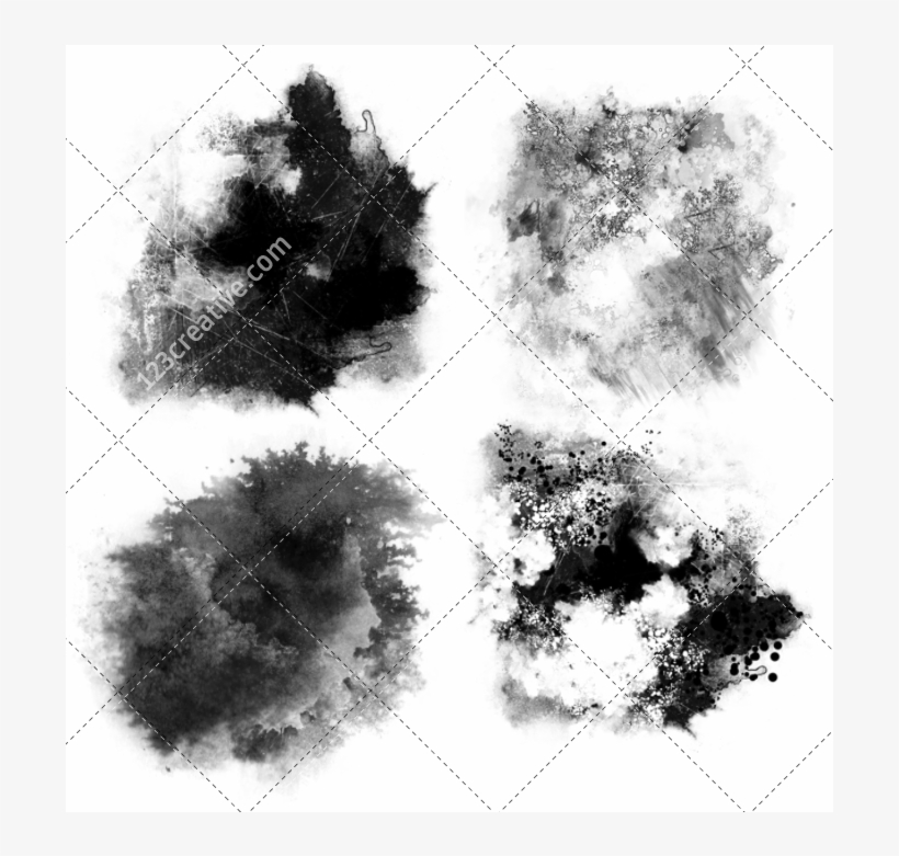 Drawing Black And White Brush Watercolor Painting - Ink Stain