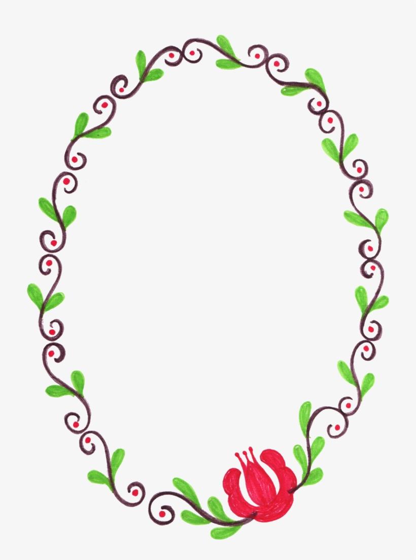 Png File Size - Flower Oval Frame Png, transparent png #59014