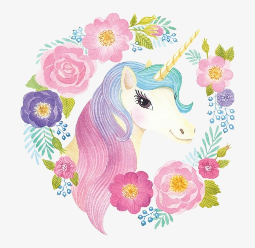 Spring Unicorn Cute Watercolor Colorful Flowercrown