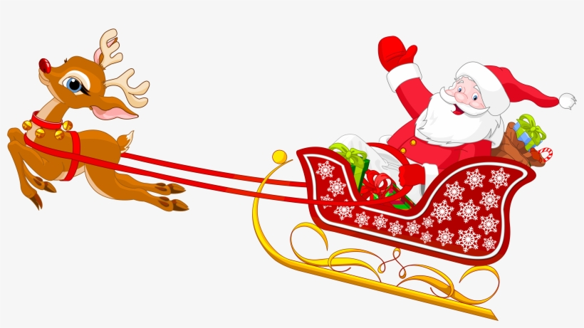 Santa And Reindeer With Sled Png Clipart - Santa Claus Sleigh Cartoon, transparent png #59982