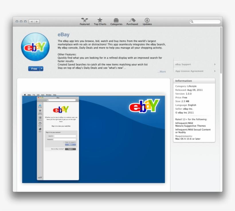 Ebay Releases Free App In The Mac App Store - Ebay Mac App - Free
