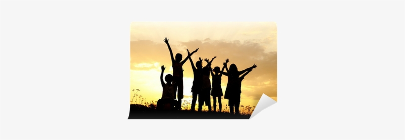 Silhouette, Group Of Happy Children Playing On Meadow, - Silhouette, transparent png #508968