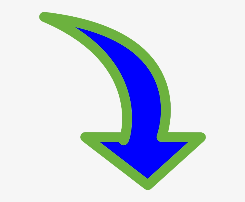 Curved Arrow Bright Blue Small - Curved Arrow Pointing Down, transparent png #509614