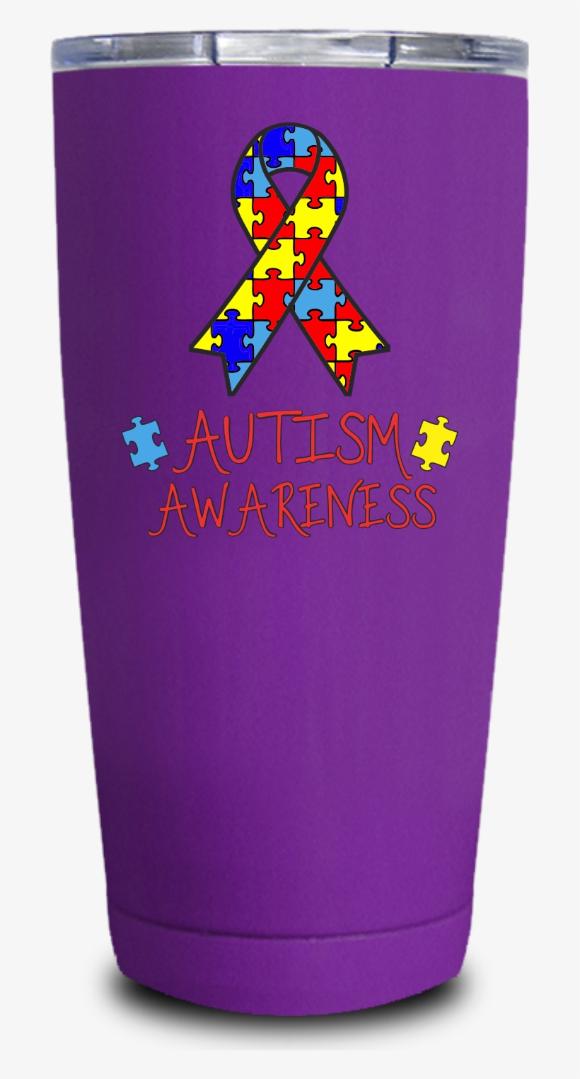 Autism Awareness Ribbon 20oz Uv Tumbler - Autism, transparent png #5003706