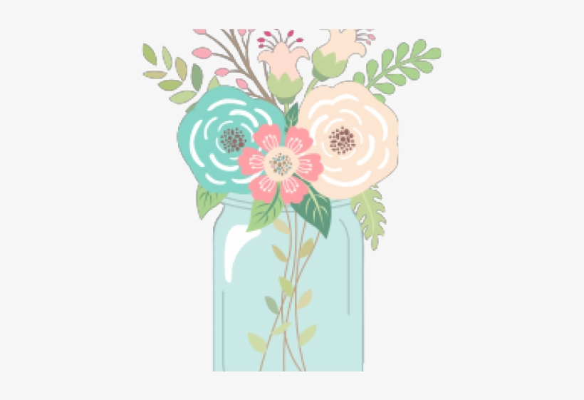 Mason jar love. Clipart with flowers free