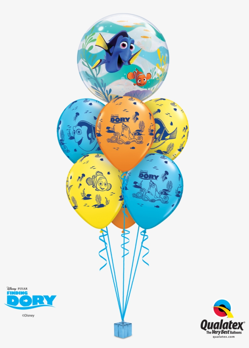 """Finding Dory Balloon Bouquet - 22"""" Finding Dory Bubble Balloons - Mylar Balloons Foil, transparent png #5047785"""