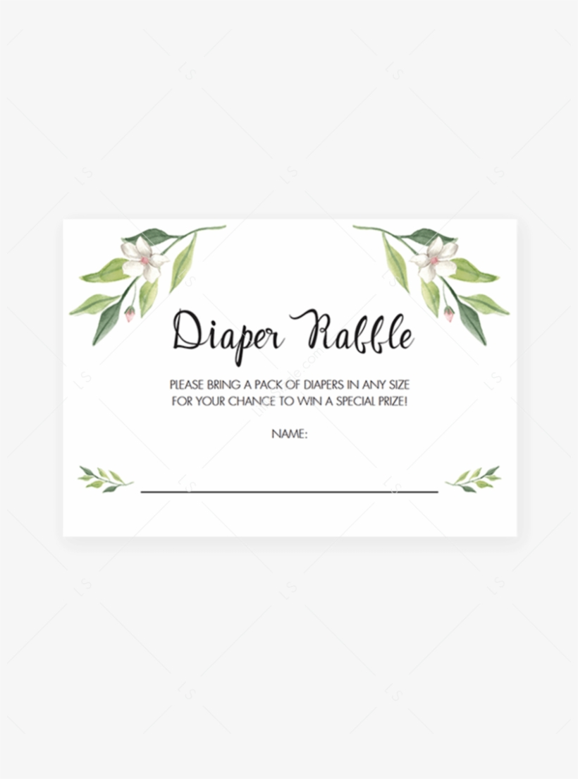 Green Foliage Baby Shower Diaper Raffle Tickets Printable