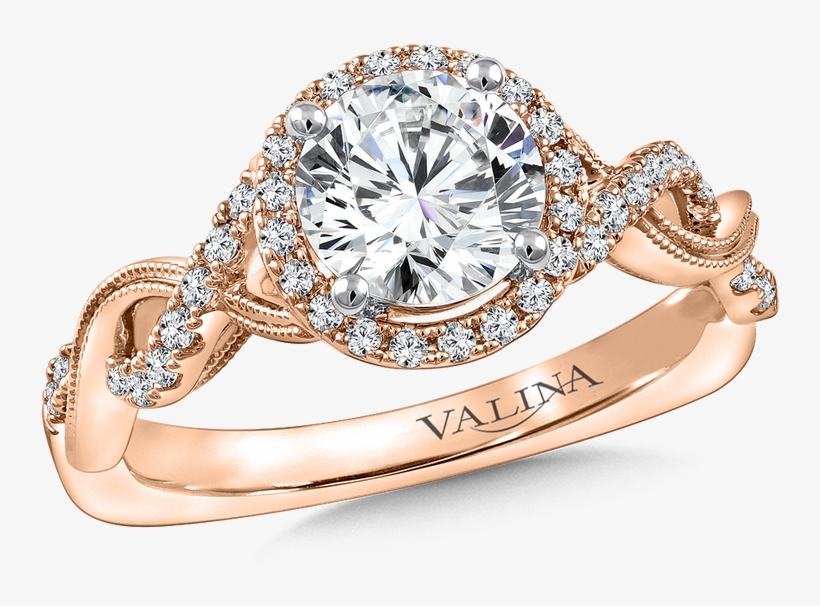 Valina Diamond Engagement Ring Mounting In 14k Rose - Valina Engagement Ring Mounting | Size: 6.50, transparent png #5059751