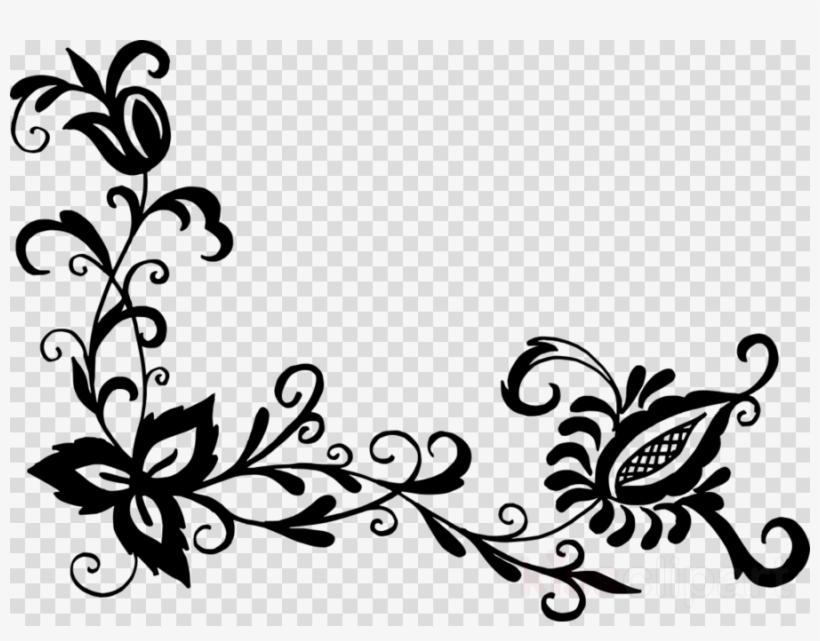 Black Flower Pattern Png Clipart Flower Designs Floral - Offer Flower Designs Drawing, transparent png #5068619