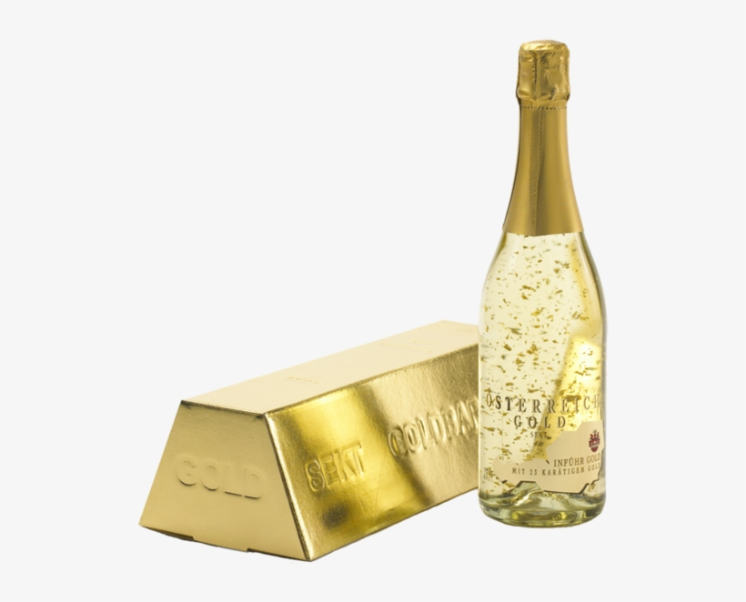 Sparkling Wine Gold With Gold Bar Carton Inführ 0,75l - Österreich Gold, transparent png #5076407