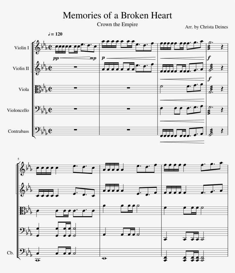 Memories Of A Broken Heart Sheet Music For Violin, - Queen