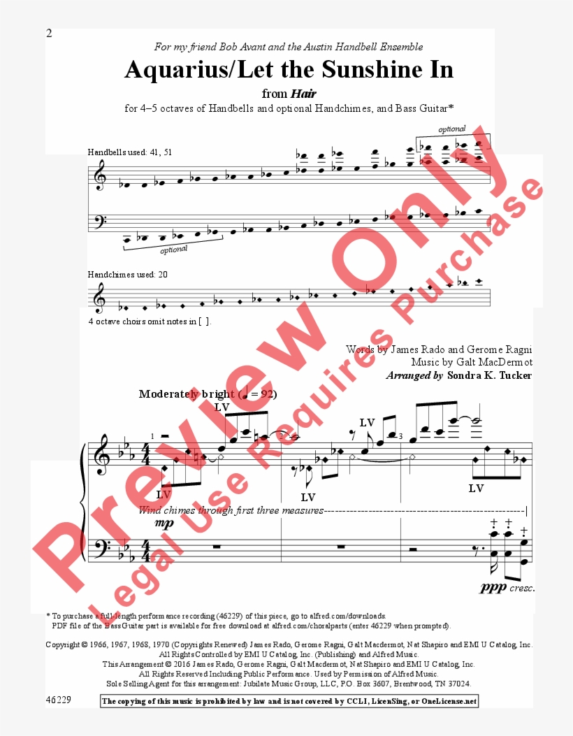 Aquarius/let The Sunshine In Thumbnail - Toto Africa Sheet Music Score, transparent png #5087169
