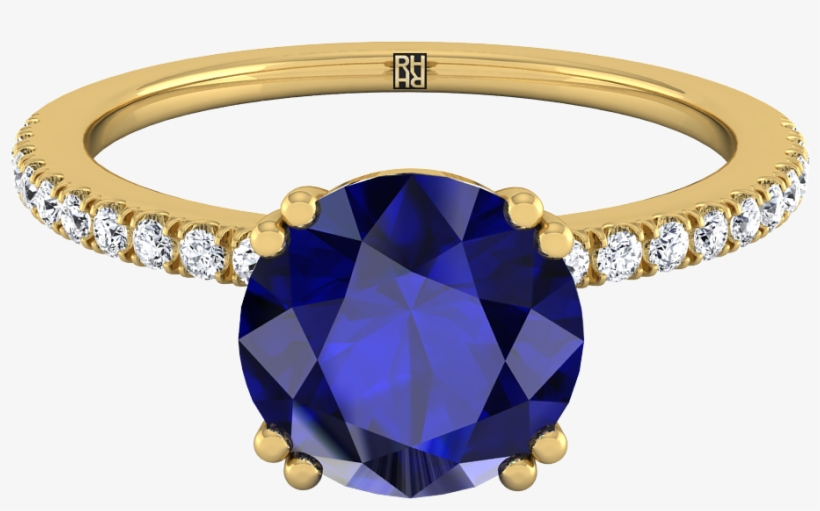 Round Sapphire Engagement Ring With Diamond Set Petite - Engagement Ring, transparent png #5087472