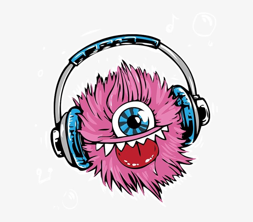 Monster, Headphones, Headset, Listen, Smile, Music - Monster Listen To Music, transparent png #5088395