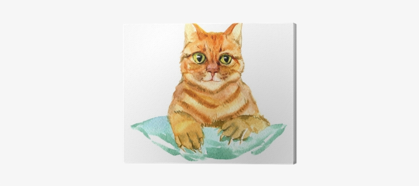 Red Cat Isolated On White Background, Watercolor Illustration - Illustration, transparent png #511374