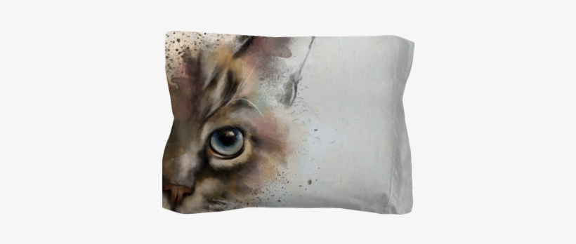 Watercolor Portrait Of A Cat, Half Quizzically At The - Half Cat Face Painting, transparent png #511569