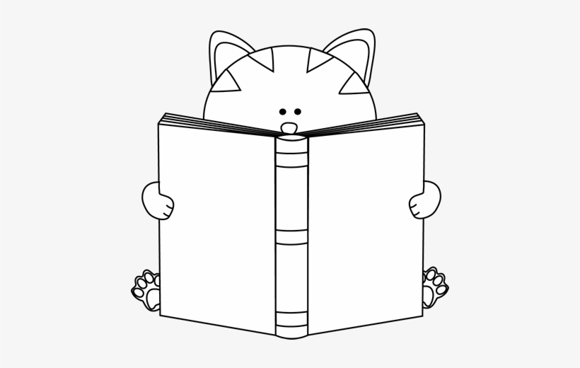 Black And White Cat Reading A Book Clip Art - Cat Reading Clip Art, transparent png #511640