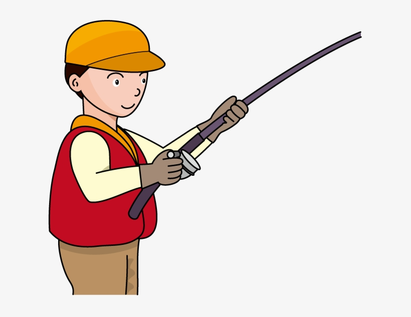 Fishing Pole Fishing Rod And Reel Clipart Kid Image Clipart Fisherman With Rod Free Transparent Png Download Pngkey