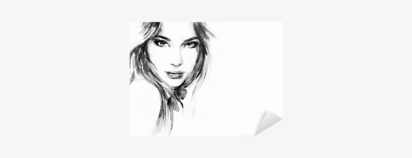 Beautiful Woman Face - Kunstdruk: Beautiful Woman Face. Watercolor Illustration, transparent png #513523
