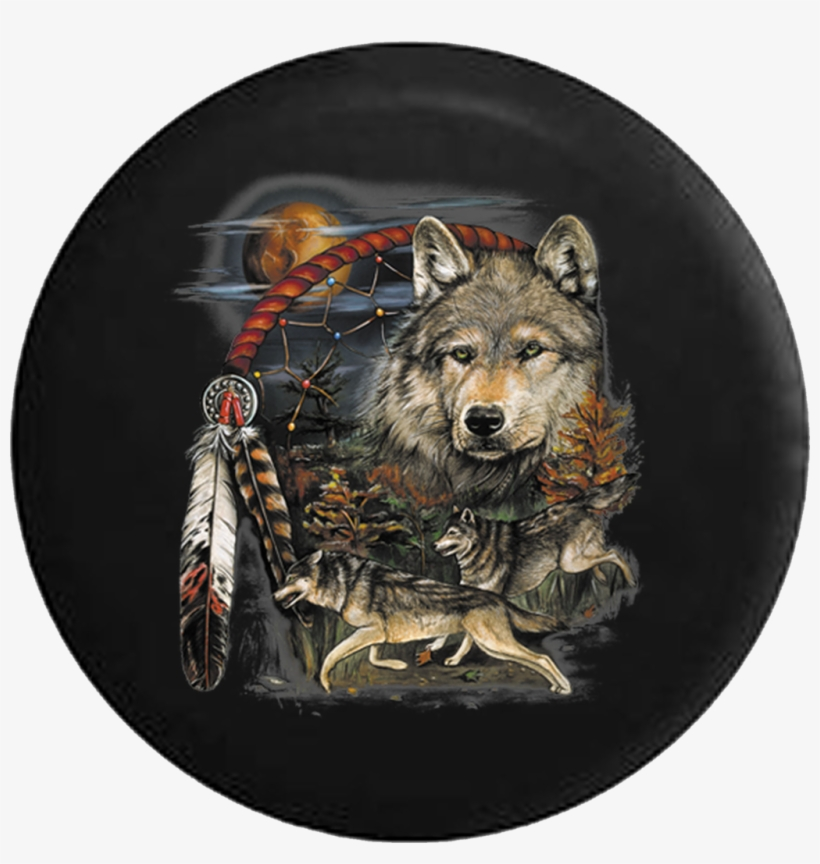 Native American Grey Wolves Dream Catcher At Sunset - Native American Tire Covers, transparent png #514900