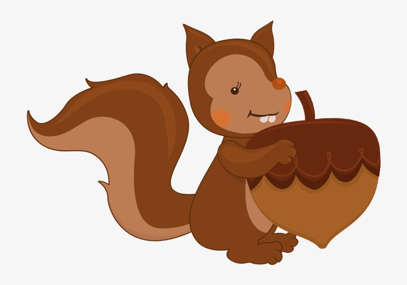 Squirrel And Autumn Nuts - Squirrel With A Nut Png, transparent png #518913