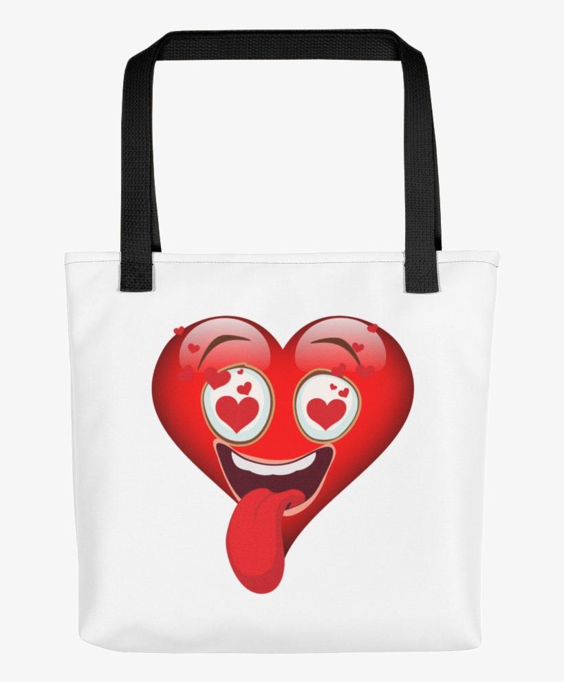 "Karma Inc Apparel ""heart In Love Emoji"" Tote Bag - Emoji Love Heart Shirt Yellow Face Costume Funny Gift, transparent png #5109887"