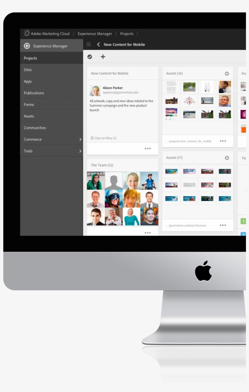 Mac Computer Screen With Adobe Experience Manager Content