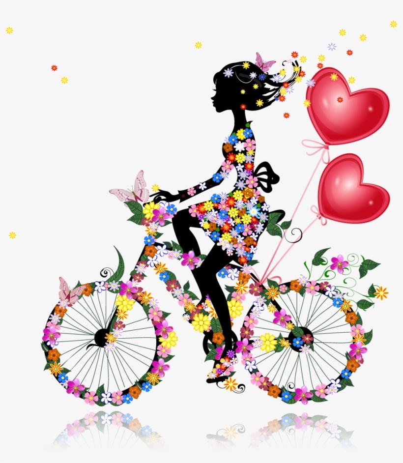 Chicas Con Flores Y Mariposas Multicolor Girl Silhouette, - Imagenes De Flores Y Mariposas Animadas, transparent png #5128465