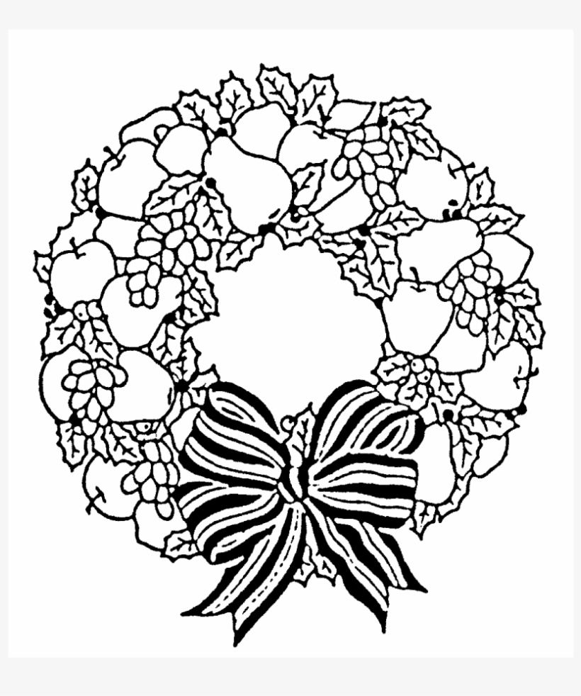 Festive Wreath Rubber Stamp - Christmas Wreath Coloring Pages, transparent png #5146169