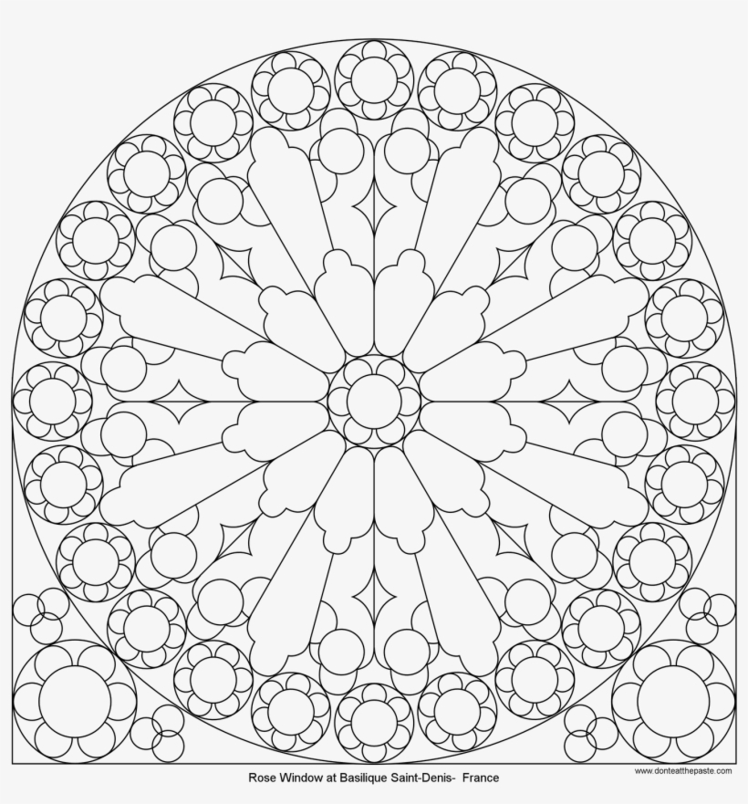 Rose Mandala Picture To Color, Stained Glass Window - Rose Window Coloring Page, transparent png #5164339