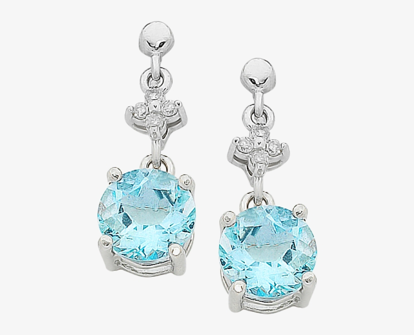 9ct White Gold Aquamarine And Diamond Earrings - White Gold Aquamarine & Diamond Earrings, transparent png #5182060