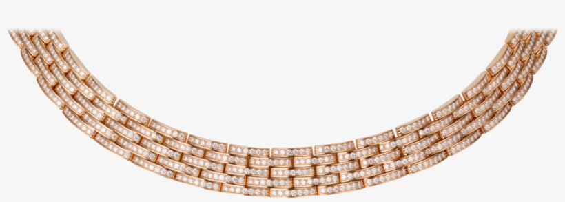 Maillon Panthère Thin Necklace, 5 Diamond-paved Rowspink - Maillon Panthère Thin Necklace 5 Diamond Paved Rows, transparent png #5193869