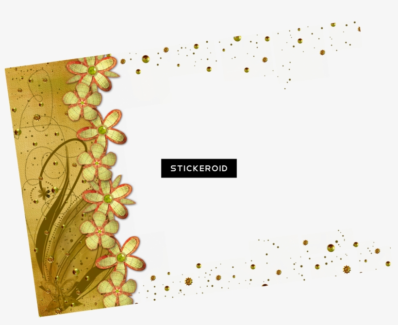 Gold Flower Frame Border Frames - Gold Frame Transparent Png, transparent png #5196169