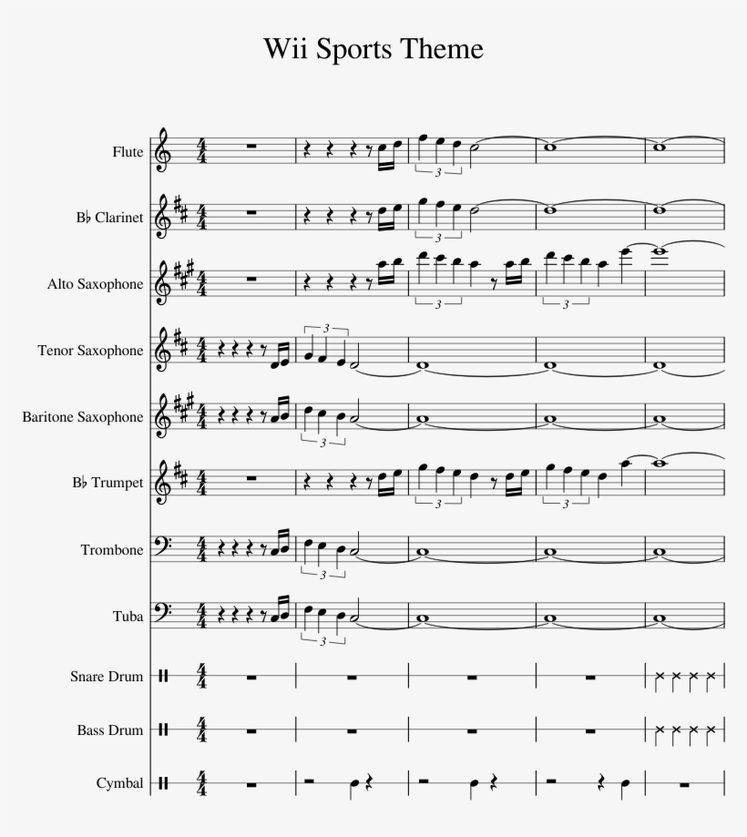 Wii Sports Theme Sheet Music For Flute Clarinet Alto - Sheet Music, transparent png #520833