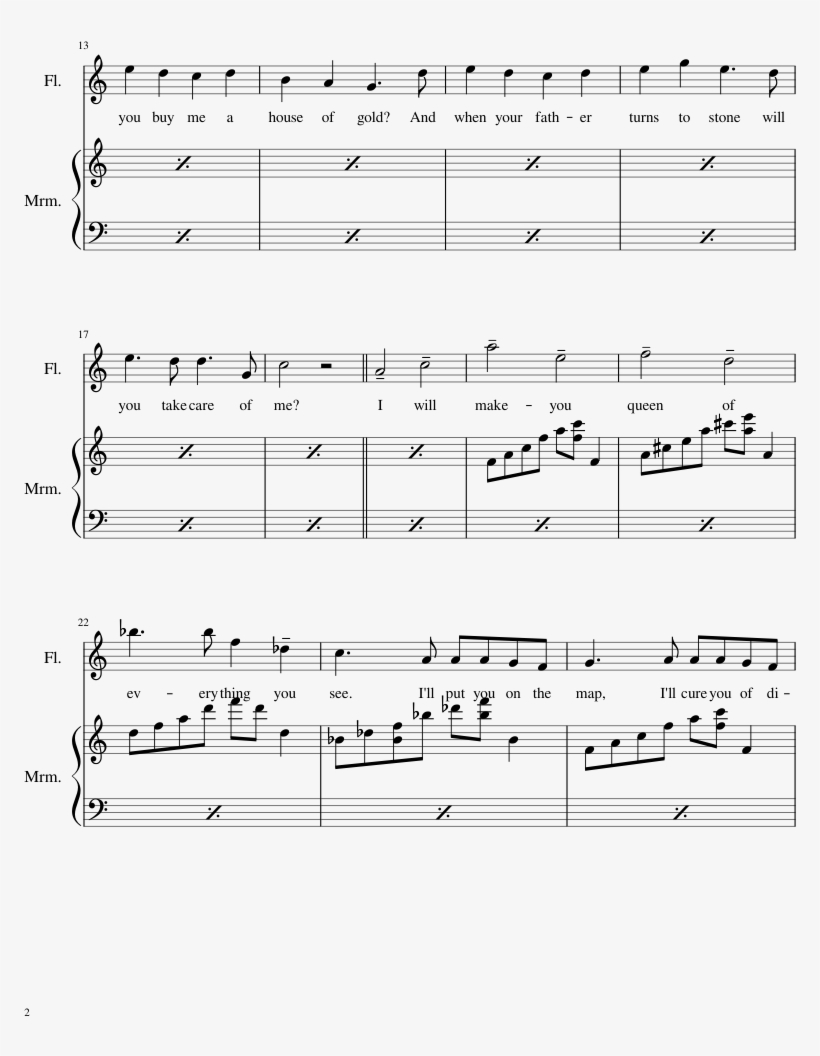 House Of Gold Sheet Music Composed By Arranged By Nedac - House Of Gold Flute Sheet Music Png, transparent png #521079