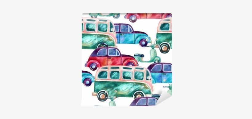 Watercolor Hippie Camper Van, Car And Scooter Wall - Las Chicas De Canterbury Umbriel Narrativa, transparent png #521361