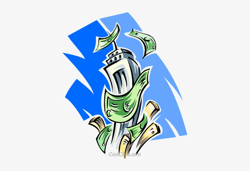 Money Blowing In Wind Around Skyscraper Royalty Free - Illustration, transparent png #525848