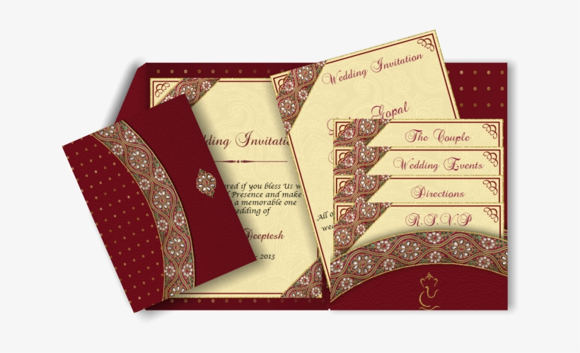 Jeweled Border Email Wedding Invitation In Red, Gold - Wedding Invitation Border Designs Red Png, transparent png #526840