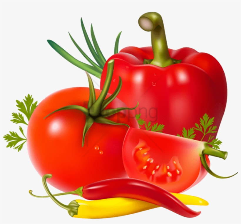 Tomatoes And Peppers - Tomatoes Peppers Clip Art, transparent png #526861
