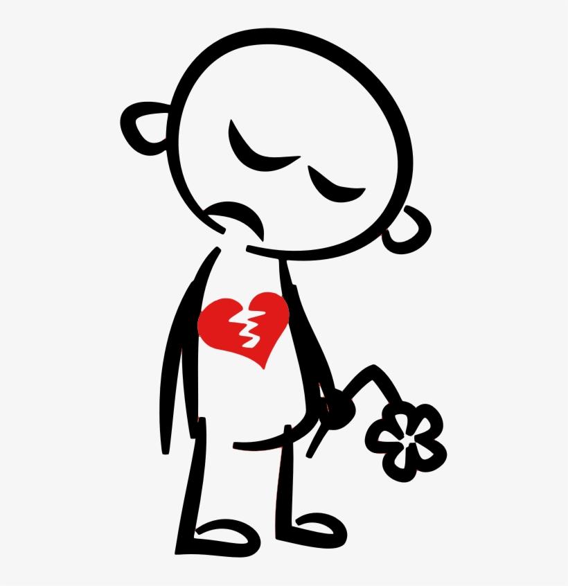 Broken Heart Clipart Stickman - Stick Figure With Broken Heart, transparent png #527075