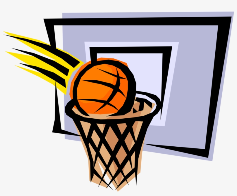 Basketball In Net Hoop For Two Points - Basketball Hoop Clipart Png, transparent png #528522