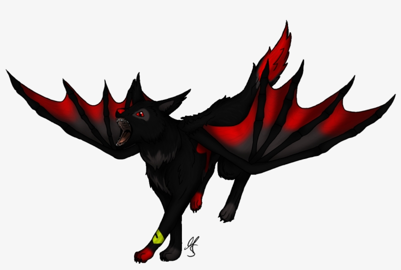 Wolf anime. With wings clipart free