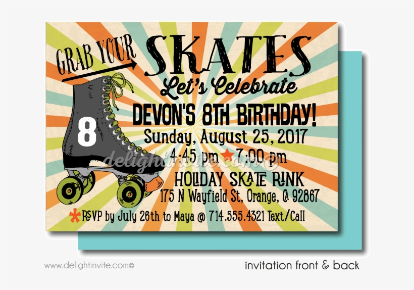 photograph about Free Printable Roller Skate Party Invitations named Absolutely free Printable Roller Skating Birthday Occasion Inv Case in point
