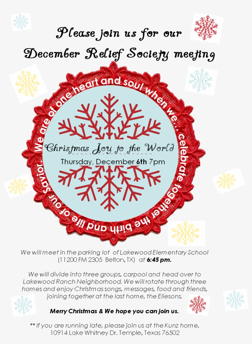 Christmas Circle Of Love - Simple Snowflake And Banner Holiday Card | Holiday, transparent png #5226063