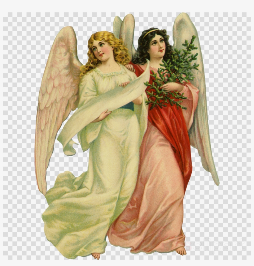 Victorian Angels Clipart Los Angeles Angels Cherub - Vintage Christmas Cards Victorian Angels, transparent png #5228835