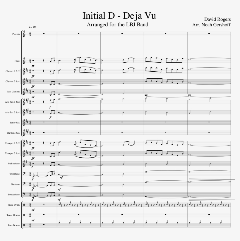 Deja Vu For Marching Band Sheet Music For Flute, Clarinet